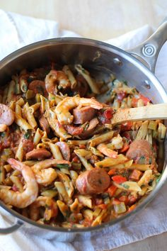 One-Pot Shrimp Gumbo Pasta | easy, healthy, delicious, and gluten-free! @ancientharvest