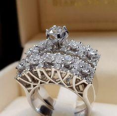 Luxe Mystic rainbow Topaz Ring 925 Silver Women Wedding Band Bijoux SZ 5-12