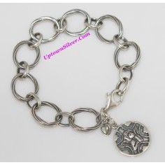 Silpada Artisan Jewelry Guardian Angel Cherub Watch Over Me Heart Charm 925 Sterling Silver Link 8.5 Inch Long Bracelet B