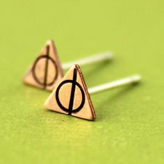 Deathly Hallows Stud Earrings  Harry Potter by SpiffingJewelry, $18.00