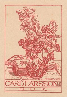 Carl Larsson Bookplate. Diocesan and regional library in Skara's.  No other information avalible.