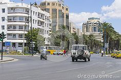 One of the streets in Tunis , capitol of Tunisia .Africa.