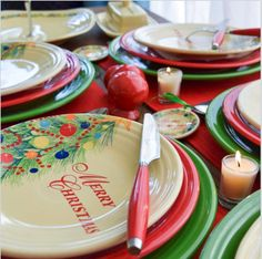 Fiesta® Christmas Tree Tablescape using Fiesta® Merry Christmas Plate paired with Scarlet and Shamrock Fiesta® Dinnerware. \u201c & the Christmas Set! I just want the tree plates. | holidays ...
