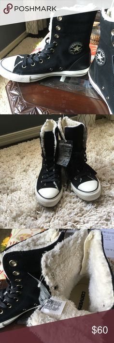 Converse for women,,Hi-top style Women converse upper leather,lining faux/fur,outsole rubber..Never worn ...Make me an offer Converse Shoes Sneakers