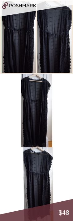 Topshop Black Lace Sheer Kimono Gorgeous black maxi lace kimono by Topshop. Ties in the front. Semi sheer. Topshop Tops
