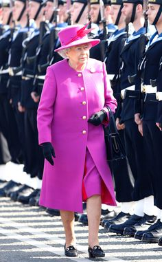 2015 The Queen chose a red-and-pink number for a rededication ceremony at HM Naval Base Devonport in England.