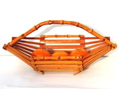 French Vintage Wood And Bamboo Basket /Fruit by SouvenirsdeVoyages