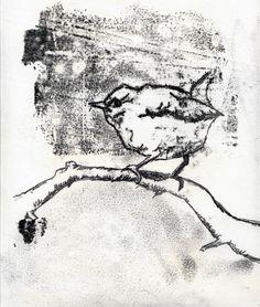 wren monoprint - monoprinting as an idea to show bridge texture?