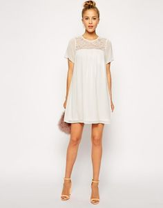 ASOS Swing Dress with Lace Inserts (Cream) UK/18  EU/46  RRP £35.00