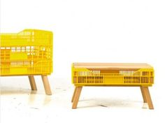 milk crate table yellow