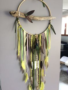 Dream catcher / dreamcatcher / giant dream catcher drift wood, green and yellow and wood beads Dreams Catcher, Diy And Crafts, Arts And Crafts, Dream Catcher Mobile, Branch Art, Jewelry Wall, Hanging Crystals, Indian Crafts, Hanging Towels