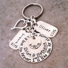 PERSONALIZED Hand Stamped Keychain Key Ring MOM Gift for Her Keepsake Family Anniversary NEW Mom Baby Mommy Accessories