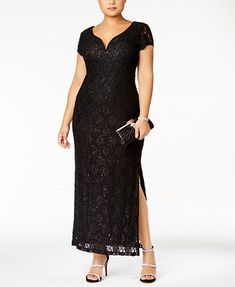 Image 1 of Connected Plus Size Sequined Lace Gown