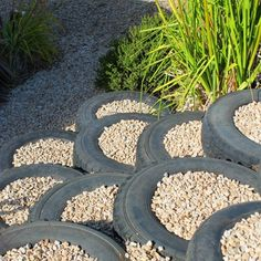 Create an unusual pathway, or set down easy steps using tyres filled with mulch or gravel
