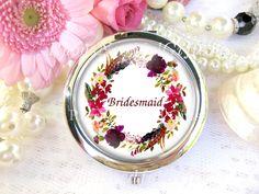 Silver Compact Mirror, cosmetic, handbag or purse mirror, Bridesmaid's Mirror, Wedding Favors, Gift for Bridesmaid, Floral Boho Mirror. by RubysNeedfulGifts on Etsy