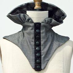 High Gathered Black and White Mini Check Neck Collar Corset Piece Punk Fashion, Vintage Fashion, High Collar, Neck Collar, Bridal Corset, Collar Designs, Couture Sewing, Fashion Design, Fashion Trends