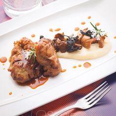 Ris de veau rôti, crémeux de panais caramélisé fricassée de champignons de saison par Émeric Buisson