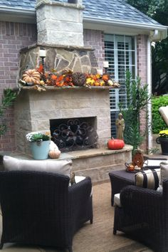 Decorating an outdoor fireplace idea:) Decorated for Fall
