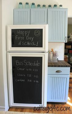 DIY::Framed Chalkboard Panels for the Fridge. Cute idea if u wanna cover a not so attractive fridge
