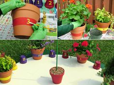 "Build a vivid sundial with container gardens and pots. Your kids will love running outside to check the time and water the ""hours."" No batteries needed!"