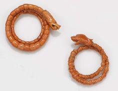 A two coral dragon bangle