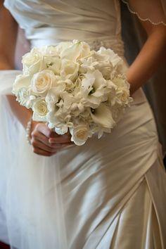 ivory roses + calla lilies + lisianthus + stephanotis bouquet