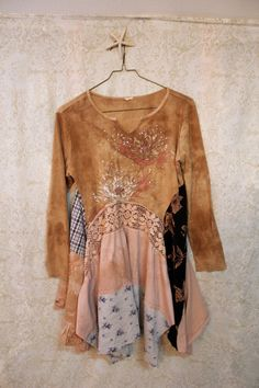 Boho Shirt, Shabby Chic Romantic, Bohemian Junk Gypsy Style, Mori Girl, Lagenlook, Cowgirl Country Girl Chic