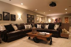 Every cave must have a brown leather couch with lots of room to watch the game. Even for the first floor. Or this could be the perfect family room, the size is perfect Do It Yourself Sofa, Leather Living Room Furniture, Living Room Ideas Brown Leather Couch, Brown Leather Couches, Living Room Decor Brown Couch, Basement Furniture, Cozy Living, Small Living, Basement Inspiration
