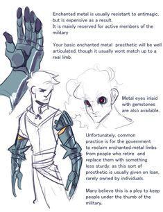 """silentlycrazy: """" filibusterfrog: """" heretekadept: """" filibusterfrog: """"fantasy prosthesis """" This is very cool, but as a worldbuilding detail why wouldn't the """"bones from a person you killed yourself"""". Fantasy Character Design, Character Creation, Character Design Inspiration, Character Concept, Character Art, Character Ideas, Dungeons And Dragons Homebrew, D&d Dungeons And Dragons, Dnd Dragons"""