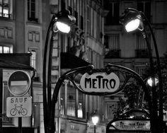 Paris Noir #12, Black and White Paris Photography, Paris Metro, Art Nouveau Noir Paris Decor