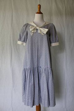 VINTAGE LAURA ASHLEY 1920's Flapper Style Blue & White Sailor Dress Size Small #LauraAshley