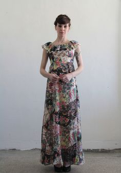 Love this dress. I would add a long sleeve undernearth but I think it would still be cute. 1960s Maxi Dress . LBD Floral Print . Cotton . Ruffles Lace . Summer . Size Extra Small. via Etsy.