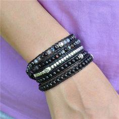 Tibetan Skull Black Agate Wrap Bracelet