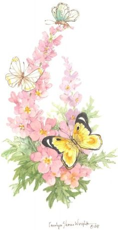 Butterfly Party by Artist Carolyn Shores Wright Butterfly Party, Butterfly Flowers, Beautiful Butterflies, Flower Art, Pink Flowers, Watercolor Cards, Floral Watercolor, Watercolor Paintings, Butterfly Pictures