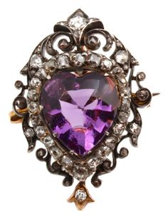 Early Victorian Amethyst Heart Pin/Pendant with Diamonds, Silver on gold, and old European Diamonds, circa 1860.