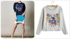 KCLOTH  Jumper With Colorful Tiger PatternT1402 Casual Sweater Cardigan Plus Size knit wear new outerwear misery jumper tops Bohemian Shirts on Etsy, £15.11