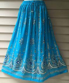 Turquoise Blue Skirt Boho Gypsy Elegant Skirt by anjiscollection