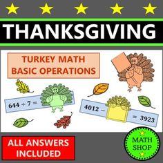 Thanksgiving Math Integer Operations Fall Math Worksheets Autumn Math