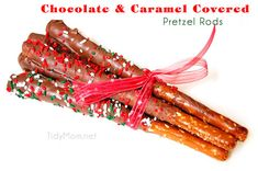 Chocolate & Caramel Covered Pretzel Rods  at TidyMom.net #ChristmasCookies