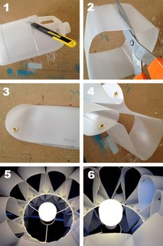 Turn empty plastic milk containers into contemporary lighting #plastic #reuse #recycle  http://www.home-dzine.co.za/crafts/craft-plastic-botle-lights.htm