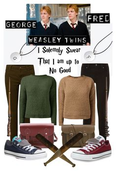"""""""The Weasley Twins"""" by potterhead105 ❤ liked on Polyvore featuring Paige Denim, The Cambridge Satchel Company, Converse and George"""