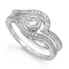 Aimee's 1CT Brilliant Cut Bezel Set Silver CZ Engagement Ring Set
