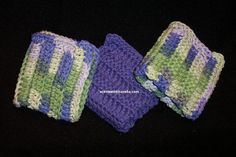 Crochet Dishcloths/Washcloths in a Purple/Green blend by scentsnmore4u on Etsy