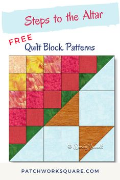 The STEPS TO THE ALTAR quilt block is a nine patch design featuring easy shapes -- squares and half square triangles. Beginner Quilt Patterns Free, Quilt Square Patterns, Barn Quilt Patterns, Quilting For Beginners, Pattern Blocks, Quilting Patterns, Hand Quilting, Quilting Ideas, Half Square Triangle Quilts