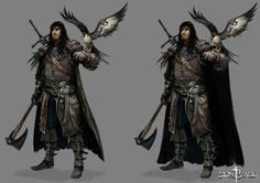 """Here is a part of my work on the dark fantasy mobile RPG """"Iron Blade"""", by Gameloft Those artworks were produced in the Gameloft Paris HQ Art Team, under the direction of our Art Director Pascal Barret. Fantasy Heroes, Fantasy Male, Fantasy Armor, Fantasy Weapons, Dark Fantasy Art, Medieval Fantasy, Rogue Character, Character Art, Character Design"""