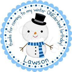 Winter ONEderland Birthday Snowman Personalized Stickers - Party Favor Labels, Birthday Stickers  - Choice of Size and Colors. $6.00, via Etsy.