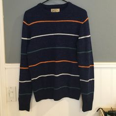 "Urban Outfitters Striped Sweater Still in Good Condition! Some minor pilling but not noticeable due to the dark color of the sweater. Size XS in Men's (Small in Women's) - Approx 26"" long from shoulder to hem - Brand: O' Hanlon Mills Urban Outfitters Sweaters Crew & Scoop Necks"