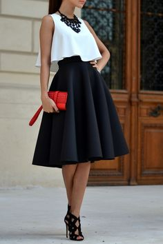 White Tank Top and Black A Line Skirt Suit