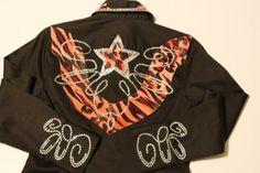 Orange/Brown animal print beauty Barrel Racing shirt