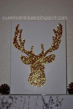 Glitter Reindeer on canvas
